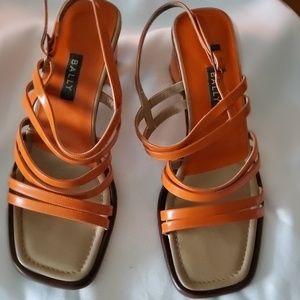 Bally Orange Strappy Box Heels